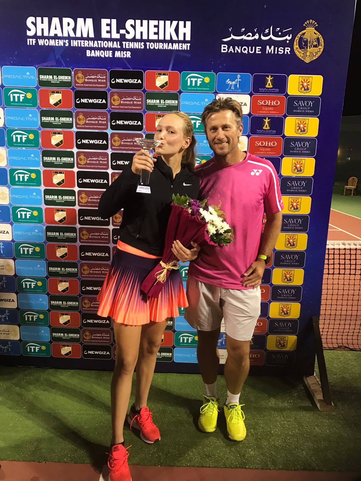 Donna Vekic and Tennis Coach Nick Horvat ITF Women's Circuit - Sharm el-Sheikh, Egypt