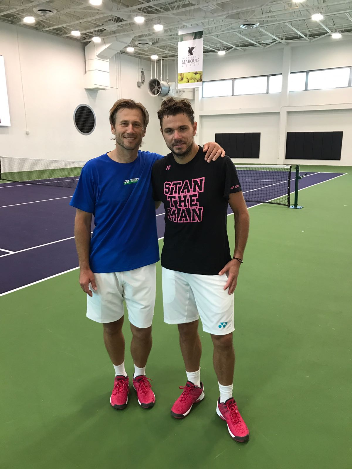Tennis Coach Nick Horvat Tennis Player Stan Wawrinka - Miami Open 2017