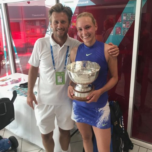 Donna Vekic and Nick Horvat with trophy - Nottingham Open WTA Title